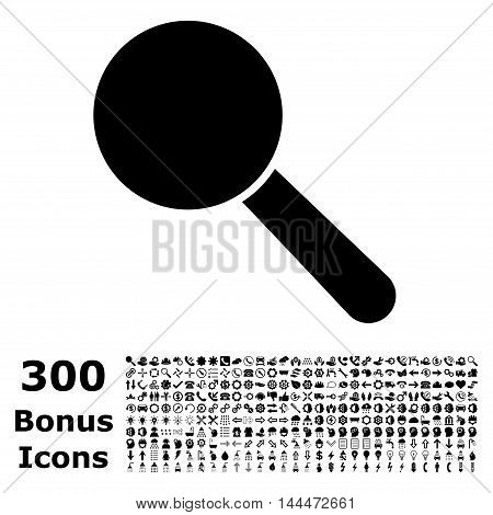 Search Tool icon with 300 bonus icons. Vector illustration style is flat iconic symbols, black color, white background.