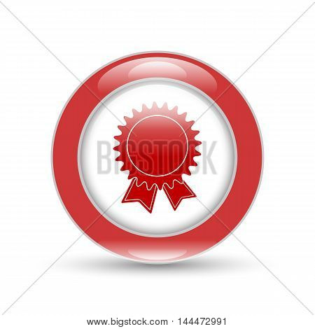 badge with ribbons icon on a white background