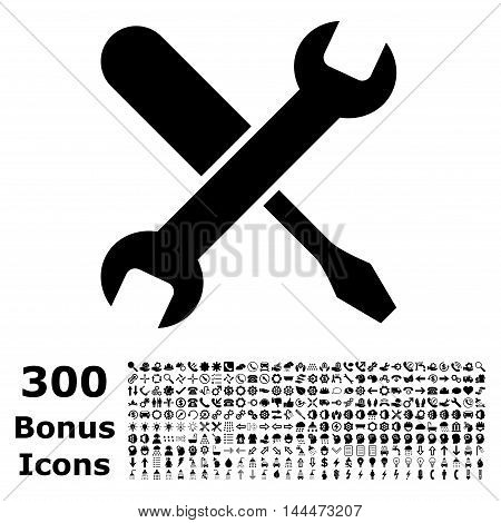 Tuning icon with 300 bonus icons. Vector illustration style is flat iconic symbols, black color, white background.
