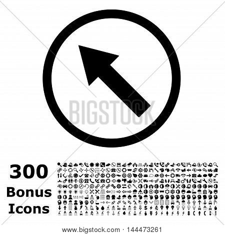 Up-Left Rounded Arrow icon with 300 bonus icons. Vector illustration style is flat iconic symbols, black color, white background.