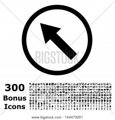Up-Left Rounded Arrow icon with 300 bonus icons. Vector illustration style is flat iconic symbols, black color, white background.