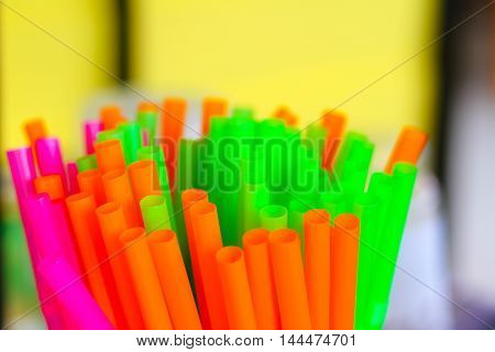 Straw plastic tube color full selected focus