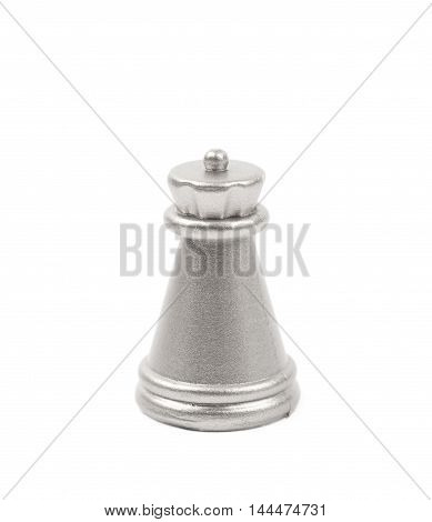 Silver rook chess figure isolated over the white background