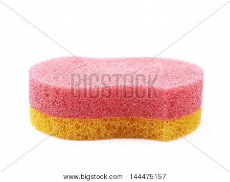 Red and yellow bath sponge isolated over the white background