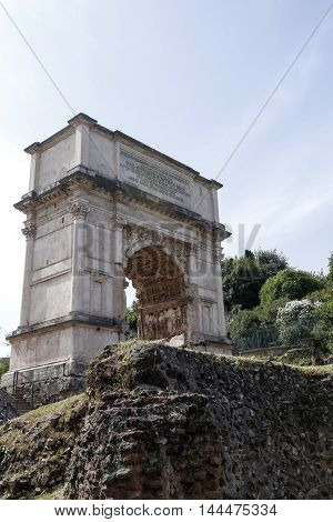 Arch of Titus is a 1st-century honorific arch located on the Via Sacra Rome just to the south-east of the Roman Forum.