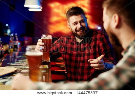 Drinking beer at bar