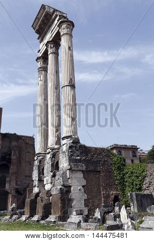 columns in ruins of Roman forum. Rome. Italy