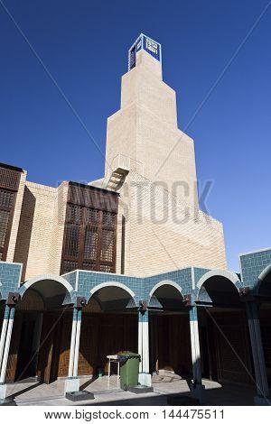 LISBON, PORTUGAL - October 15, 2015: Minaret of the Central Mosque of Lisbon on October 15, 2015 in Lisbon, Portugal