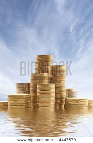 Money over sky background