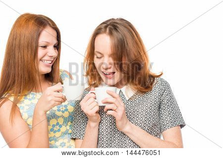 Girlfriends Enjoying A Delicious Tea, Portrait On A White Background