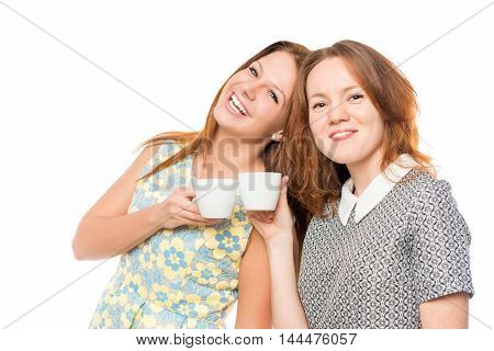 Attractive Girlfriends With Coffee On A White Background Posing