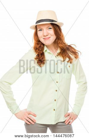 Pretty Girl With Red Hair Wearing A Hat On A White Background