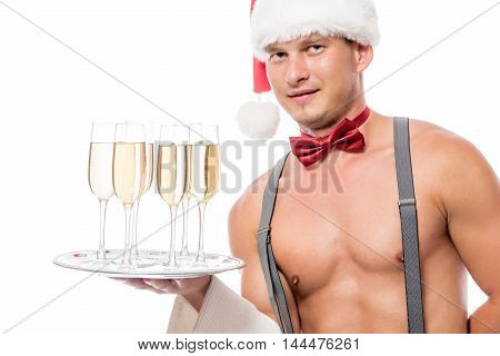 Stripper Waiter With Champagne On A White Background