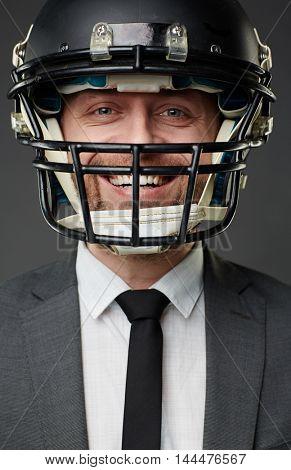 Man in sports helmet