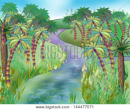 Digital Painting Illustration of wild nature landscape with Palm trees on a coast of the river. Cartoon Style Artwork Scene Story Background.
