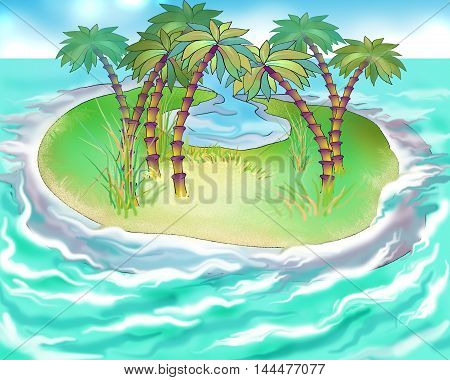 Digital Painting Illustration of the uninhabited island in the ocean. Cartoon Style Character Fairy Tale Story Background.