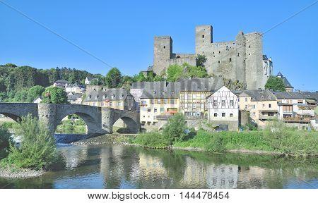 medieval Village of Runkel at River Lahn in Westerwald,Hesse,Germany