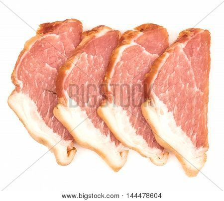smoked meat on a white background. Top view.