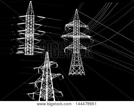 illustration with electric towers collection isolated on black background