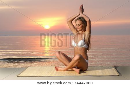 Sexy lady wearing swimsuit on the tropical beach