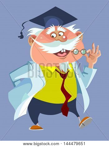 cartoon chubby male professor in a robe and cap