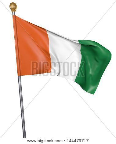 National flag for country of Ivory Coast isolated on white background, 3D rendering