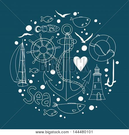 Collection of nautical elements in a circle shape. There are lighthouse, seagull, sailboat, life buoy, fish, anchor and wheel. Contour drawing on a dark background. Vector illustration.