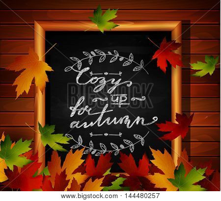 Chalkboard with autumn leaves and falling leaves