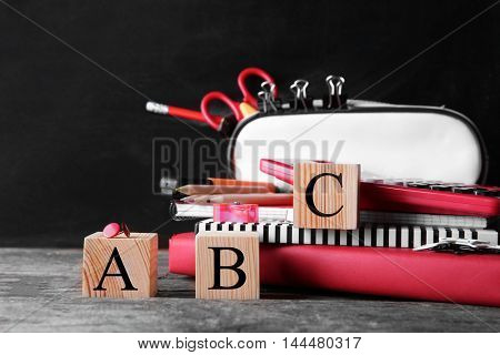 Word ABC and stationery set on blackboard background