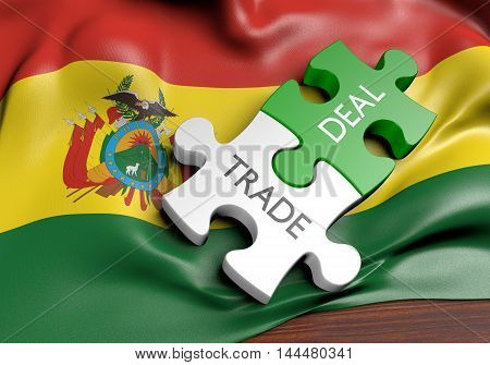 Bolivia trade deals and international commerce concept, 3D rendering