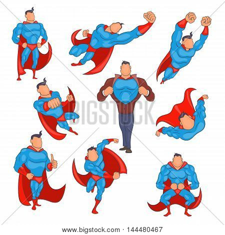 Superhero icons set in cartoon style. Superhero set collection vector illustration