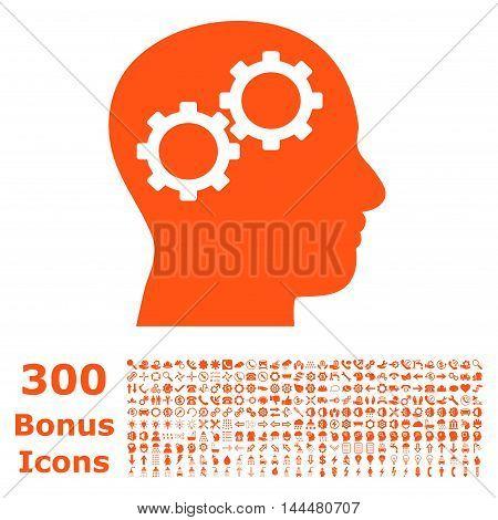 Brain Gears icon with 300 bonus icons. Vector illustration style is flat iconic symbols, orange color, white background.