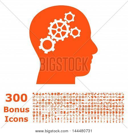 Brain Gears icon with 300 bonus icons. Vector illustration style is flat iconic symbols, orange color, white background.