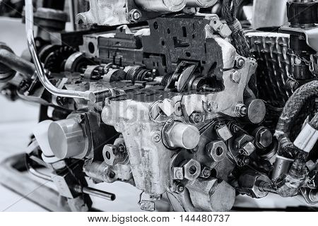 section of an engine black and white