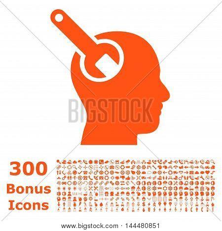 Brain Tool icon with 300 bonus icons. Vector illustration style is flat iconic symbols, orange color, white background.