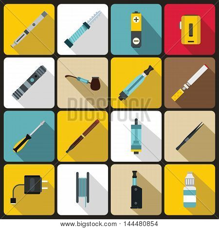 Vaping icons set in flat style. set collection. Electronic cigarette and accessories vector illustration