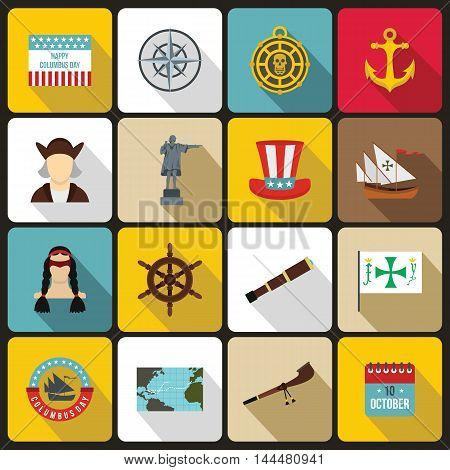 Columbus Day icons set in flat style. set collection. Sailing equipment vector illustration
