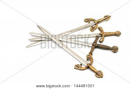iron, soldier Swords on a white background