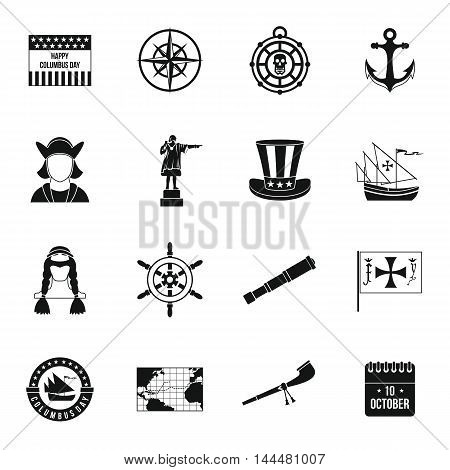 Columbus Day icons set in simple style. Sailing equipment set collection vector illustration