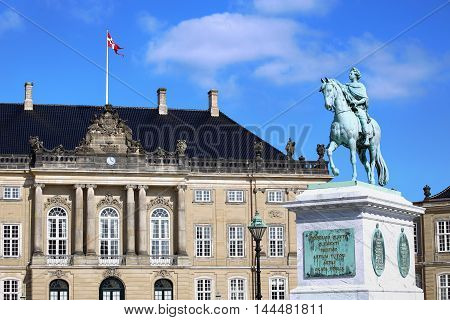 Sculpture of Frederik V on Horseback in Amalienborg Square in Copenhagen Denmark