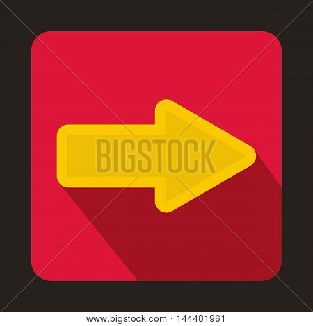 Yellow arrow on red background icon in flat style with long shadow