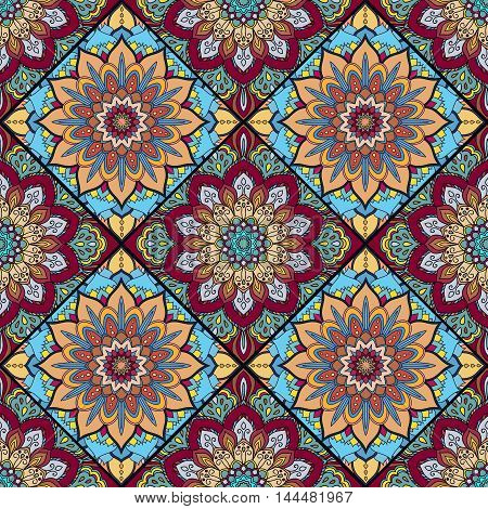 Square Boho Flower Tile Pattern. Mandala patchwork, floral elements. Oriental hippie design. Unusual decorative ornament. Wallpaper, fabric print, furniture textile, pillow deco. Vector background