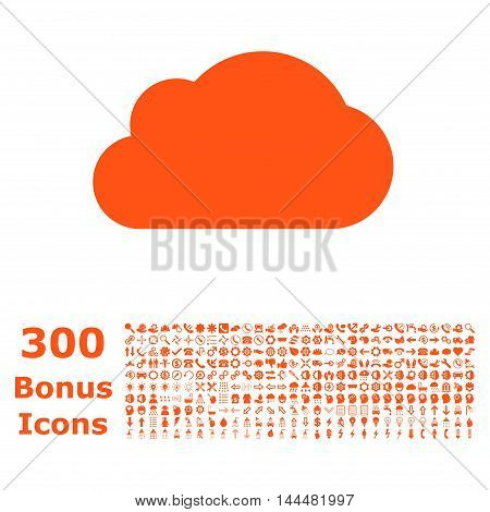 Cloud icon with 300 bonus icons. Vector illustration style is flat iconic symbols, orange color, white background.