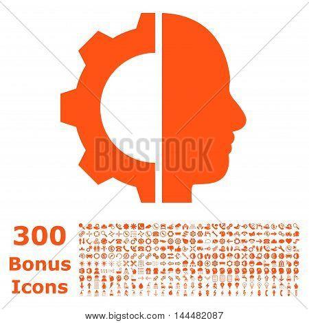 Cyborg Gear icon with 300 bonus icons. Vector illustration style is flat iconic symbols, orange color, white background.