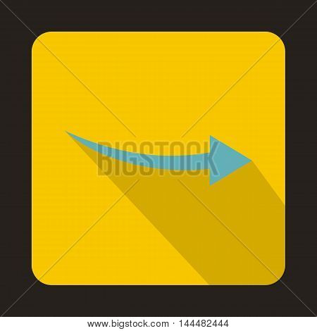 Thin blue arrow icon in flat style with long shadow