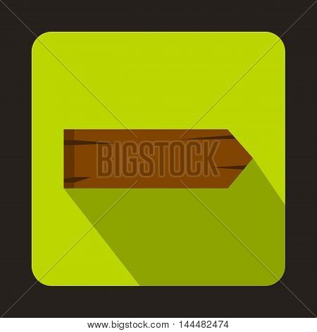 Wooden signpost icon in flat style with long shadow