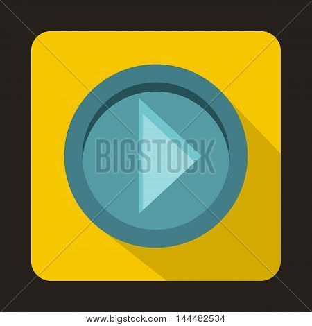 Arrow button on yellow background icon in flat style with long shadow