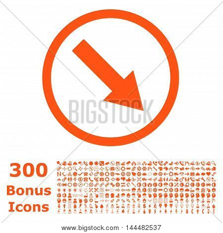 Down-Right Rounded Arrow icon with 300 bonus icons. Vector illustration style is flat iconic symbols, orange color, white background.