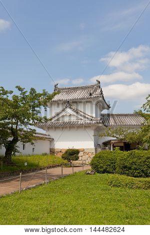 HIMEJI JAPAN - JULY 21 2016: Entrance of Hyakkenroka Corridor in West Bailey of Himeji castle (White Egret Castle 1609). Himeji-jo is National Treasure of Japan and UNESCO World Heritage Site