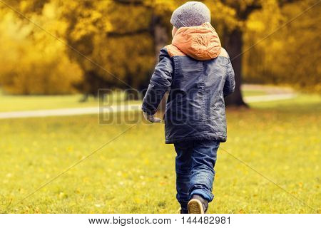 autumn, childhood, leisure and people concept - little boy running in park outdoors